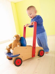 Walker Wagon and over 7,500 other quality toys at Fat Brain Toys. High quality, beautifully finished wood construction makes for a brilliantly safe and fun walking experience for baby. Adjustable wheel tension makes sure the cart never slips away while a sturdy seat and storage inspire endless imaginative play!