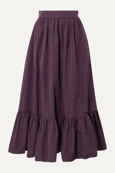 Purple cotton-blend poplin Concealed zip fastening along side cotton, polyester; Valentino Clothing, Estilo Hippie, Purple Skirt, Tiered Skirts, Red Blouses, Muslim Fashion, Skirt Outfits, I Dress, Blouse Dress