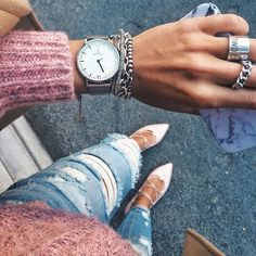 I will love jeans until the end of time.' Silver arm party with campus silver mesh watch by Kapten & Son, Clean Gold Jewelry, Gold Jewellery, Silver Jewelry, Silver Rings, Fine Jewelry, Women Jewelry, Book Jewelry, Fashion Jewelry