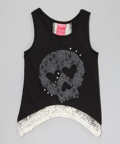 Love this Black Skull Tank - Girls by French Toast on #zulily! #zulilyfinds