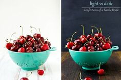 Light vs Dark food styling comparison by Confections of a Foodie Bride. I normally love the light and bright too but this dark version is so pretty! Hmm, I sense an experiment coming on. . .