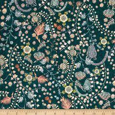 Liberty Fabrics Tana Lawn Crochet Meadow Emerald/Pink