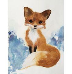 Watercolor Fox Art Nursery Art Kids Art by SweetPeaAndGummyBear