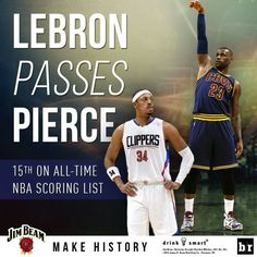 LeBron James passes Paul Pierce on the all time scoring list.
