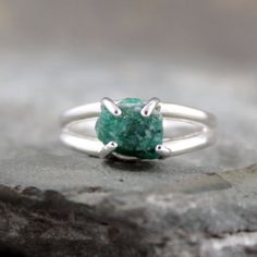 Uncut Raw Rough Emerald Ring - Sterling Silver Solitaire - Green Gemstone ...