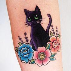 Cat tattoos black cat tattoo design on back of girl grey flower tattoo design wrist inked flow on black cat and flowers wris Circle Tattoos, Body Art Tattoos, Tattoo Drawings, New Tattoos, Small Tattoos, Cool Tattoos, Tattoo Cat, Cousin Tattoos, Arm Tattoo
