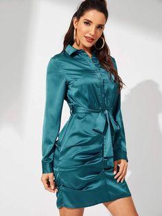 Elegant Shirt Plain Sheath Collar Long Sleeve Blue Short Length Waist Belted Button Front Collar Dress with Belt 15 Dresses, Dress Outfits, Nice Dresses, Summer Dresses, Dress Clothes, Latest Dress, Collar Dress, Sheath Dress, Dress Skirt