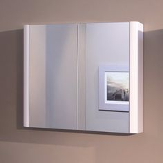 Bathroom Mirror Cabinet Wall Storage Furniture 750 x 650 Mounted Hung Recessed Large Modern Designer Glass 2 Door with White Edge
