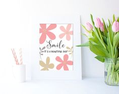 Smile...it's a beautiful day JPEG in 4 sizes by Clickatoos on Etsy