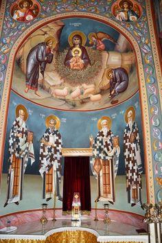 Themis Petrou - Ksiropotamou Monastery - Find Creatives Byzantine Icons, Byzantine Art, Saint Anthony Church, Orthodox Icons, Nashville Tennessee, Athens Greece, Fresco, Holi, Saints