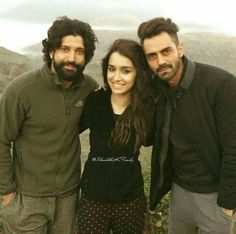 Shraddha Kapoor with Farhan Akhtar and Arjun Rampal on the sets of Rock On 2