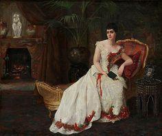 Reverie by the Fireplace Gustave-Leonard de Jonghe