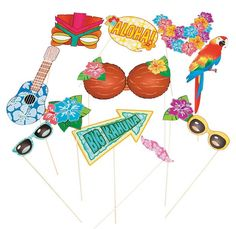 Luau Photo Booth Props (12).  Your guests willl love to pose for the camera with these awesome Luau Stick Photo Props.  These photo booth props are sure to bring your luau, Hawaiian and beach party photos to life  Includes (12) twelve x 12.7cm - 25.4cm x 2.54cm - 33cm cardboard cutouts on 30.5 cm wooden sticks.  assorted designs.