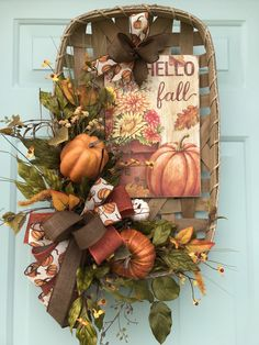 Fall Tobacco Basket Created by Dottie Hay Harvest Decorations, Halloween Decorations, Tobacco Basket Decor, Manualidades Halloween, Fall Arrangements, Autumn Decorating, Autumn Crafts, Fall Projects, Basket Decoration