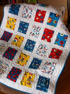 Baby Boy Quilt, Dr. Seuss fabric, Baby Quilt, Turquoise Blue Nursery Bedding…