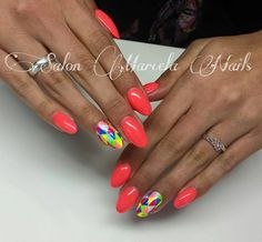 by Agnieszka, Marcela Nails Kielce - Follow us on Pinterest. Find more inspiration at www.indigo-nails.com #nailart #nails #indigo #neon #red #multicolor