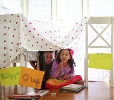 Find a Secret Spot, fantastic dens build with blankets, sheets, hoola hoops and furniture