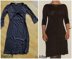 Twisted front dress to boat nech dress. Refashion DIY jersey.  Saga i farver: Fra snoet forstykke til bådhals