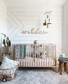 Simple Modern boho + a little sophistication ♥️♥️ Loving the mix of these styles spotted in this darling nursery by mama lacy… Baby Boy Rooms, Little Girl Rooms, Baby Boy Nurseries, Modern Nurseries, Baby Nursery Decor, Nursery Room, Project Nursery, Accent Wall Nursery, Accent Walls