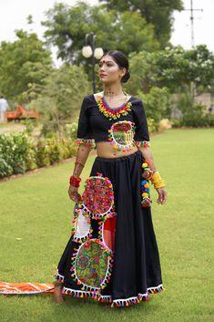 BLACK COTTON PATCH CHANIYA WITH BLACK COTTON BLOUSE Garba Dress, Navratri Dress, Lehnga Dress, Choli Blouse Design, Choli Designs, Saree Blouse Designs, Chaniya Choli Designer, Ghagra Choli, Dandiya Dress