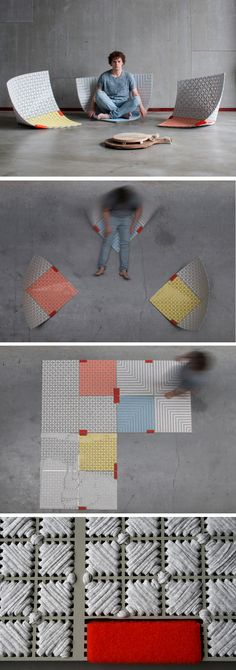 Recent design graduate Sam Linders, has created 'Wobble-up', a carpet that can be transformed into a seat.