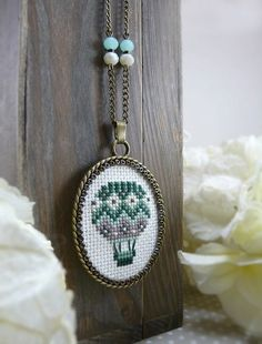 Aqua Green Hot Air Balloon Cross Stitch Necklace, Hand Embroidered Pendant, Textile Jewelry, Vintage Style, Balloon Jewelry by TriccotraShop on Etsy