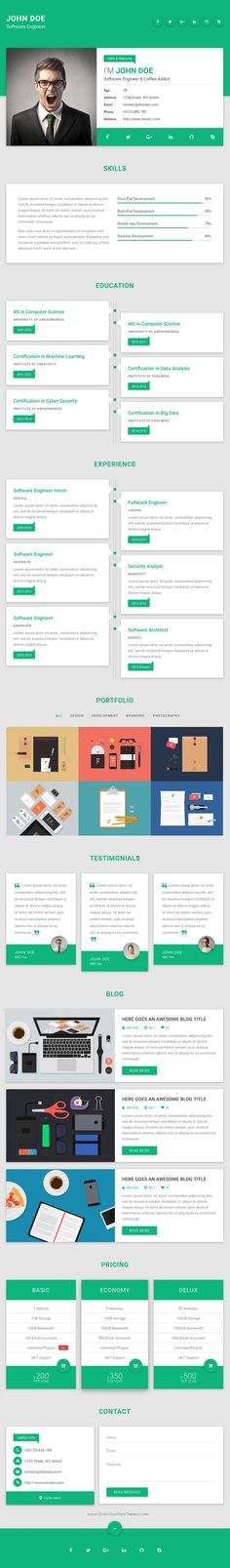 Flatrica Material CV\/Resume Resume cv, Online resume and - personal resume website template