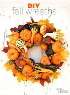 Get creative with your fall decor! Check out all of our creative DIY fall wreaths made with goards, leaves, vines and more.