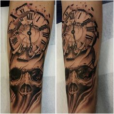 Clock and skull