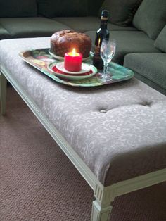 Coffee table turned into tufted bench