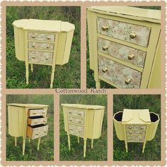 """Super cute Martha Washington sewing cabinet painted in #generalfinishes Buttermilk and distressed.  Decorative paper added to the drawers and original…"""
