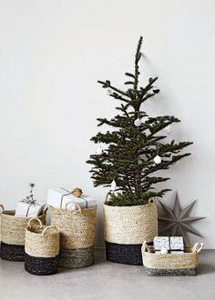 Un petit sapin de Noël dans un panier en osier