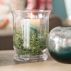 This excellent rustic lamps is definitely an inspirational and fabulous idea Glass Hurricane Lamps, Hurricane Candle Holders, Glass Candle, Pillar Candles, Wooden Lanterns, Vase Fillers, Hand Blown Glass, Vase Ideas, Centerpiece Ideas
