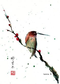 """""""The Guardian"""" Spontaneous (Xie Yi) style Chinese brush painting on rice paper by bgsearle."""