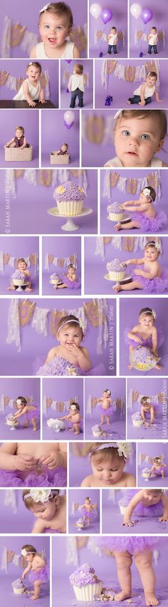 Girl Purple Cake Smash www.sarahmartinphotography.com. I have a stand and can get a giant cup cake