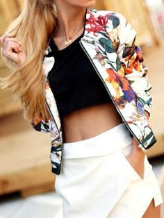 White Tropical Print Collarless Bomber Jacket | Choies