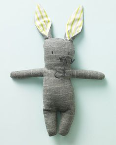 Suiting fabrics are an unconventional but charming choice for making toy bunnies. Bright cotton shirting adds a surprising pop of color inside the ears.