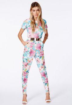 46c38c7141388 Alys Floral Print Jumpsuit In Scuba - Jumpsuits   Playsuits - Jumpsuit - Missguided  Missguided Jumpsuit