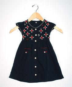 Take a look at this Little Cotton Dress Navy & Red July Button-Up Dress - Infant, Toddler & Girls on zulily today!