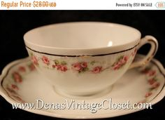 40% OFF SALE Vintage Tiara Bavaria Bone China Pink Roses Marquis Pattern Teacup and Saucer Set