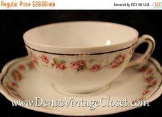 40% OFF SALE Vintage Tiara Bavaria Bone China Pink Roses Marquis Pattern Teacup and Saucer Set