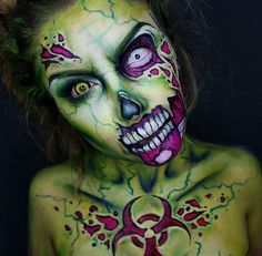 23 of the Scariest Goriest Halloween Costumes Using Makeup (NSFW!) Pin for Later: 20 of the Scariest Goriest Halloween Costumes Using Makeup (NSFW!) The Walking Dead Source by Nsomniak Halloween Looks, Scary Halloween, Halloween Face Makeup, Scariest Halloween Costumes, White Contacts Halloween, Walking Dead Halloween Costumes, Halloween Ideas, Halloween Stuff, Pop Art Makeup