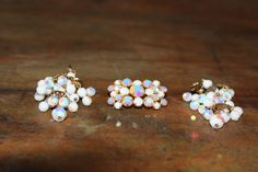 White 3 Piece Pin/ClipOn Earring Set by RoguesRelics on Etsy