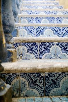 Moroccan Blue Tiled stairs