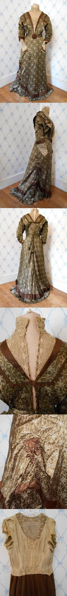 """Brown Printed Silk Satin Day Dress, circa 1906-1908 via eBay 