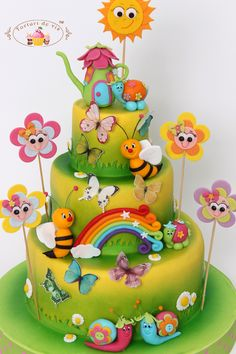 Cakes - Viorica's cakes: Cake baptism bees and butterflies