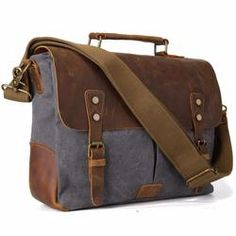 TIDING Men Canvas Tote Bags Leather Hobo Padded Strap color gray