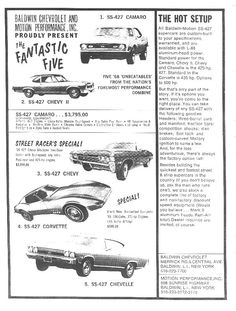 1968 Baldwin Chevrolet Dealership, Baldwin, New York AD Classic Camaro, Classic Auto, Chevrolet Dealership, Chevrolet Chevelle, Chevy Muscle Cars, Car Advertising, Drag Cars, Old Ads, Cars