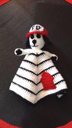 Fireman Dalmation Dog Cozy Cuddler crochet by ExpertCraftss, $4.95