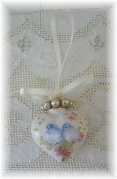 Bluebird  Pair  Vintage Pearls Ornament